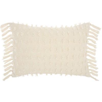 Oversize Life Styles Cut Fray Texture Lumbar Throw Pillow Cream - Mina Victory