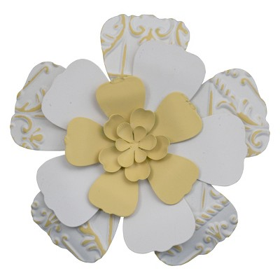 7.75 x 7.5 inch White and Yellow Metal Layered Flower Wall Décor - Foreside Home & Garden