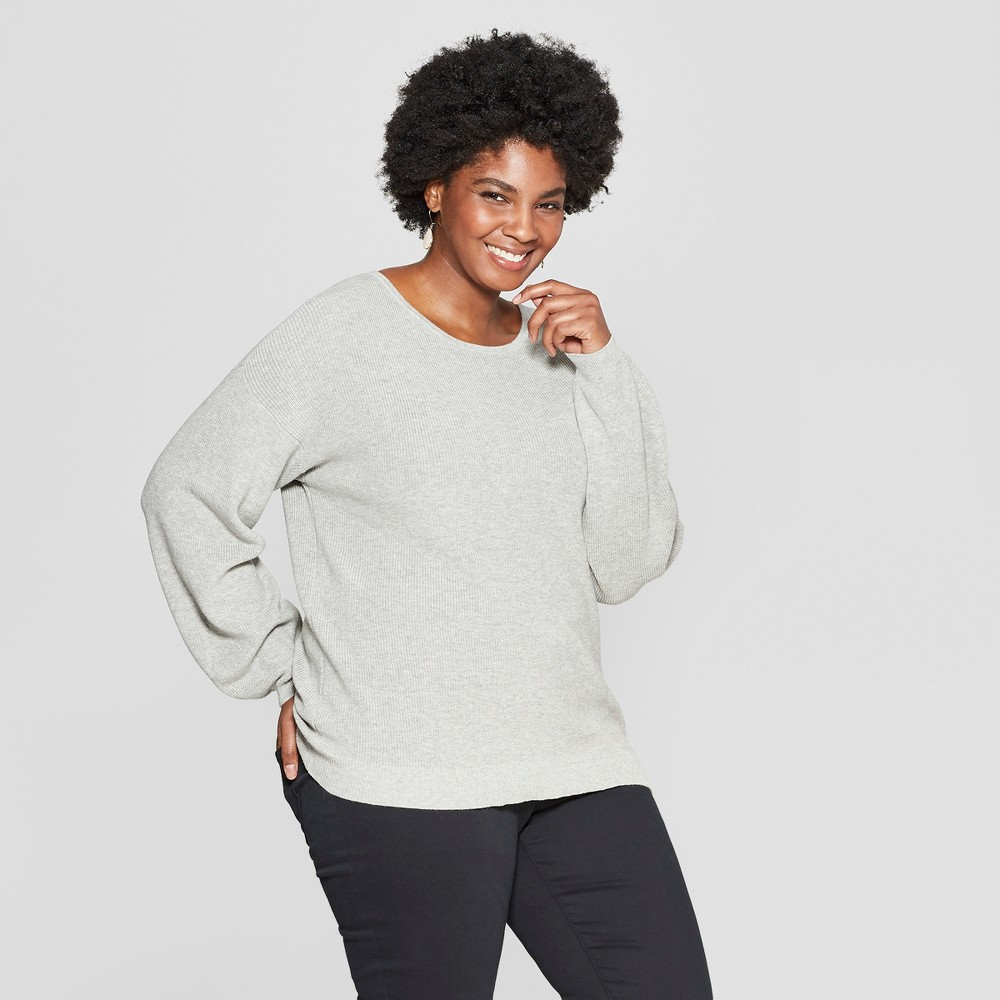Women's Plus Size Textured Pullover Sweater - Ava & Viv Heather Gray 3X