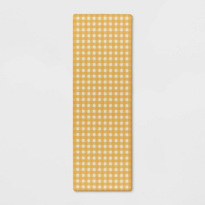 "60""x20"" Check Comfort Kitchen Runner Yellow - Threshold™"