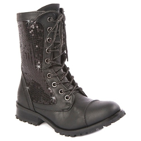 Gia-Mia Girls' Sequin Kombat Boots - image 1 of 4