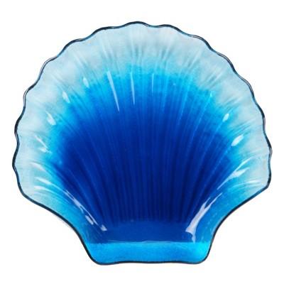 14  x 13  Glass Natural Coast Shell Platter Blue - Certified International