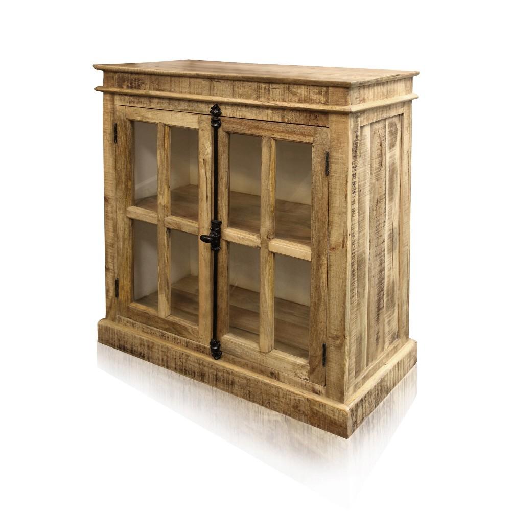 Image of Mango Wood 2 Door Cabinet with Glass Panels Brown - Stylecraft