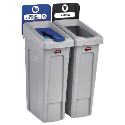 Rubbermaid Commercial Slim Jim Recycling Station Kit, 46 gal, 2-Stream Landfill/Mixed Recycling