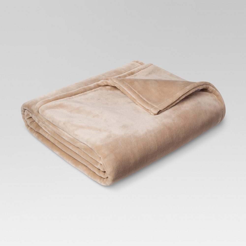 Microplush Bed Blanket Twin Brown Linen - Threshold
