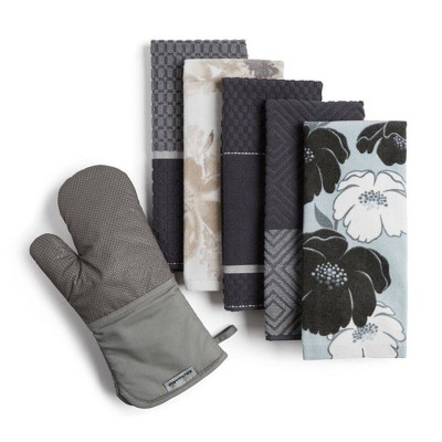 KitchenAid 6pk Kitchen Towel Oven Mitt Bundle Gray