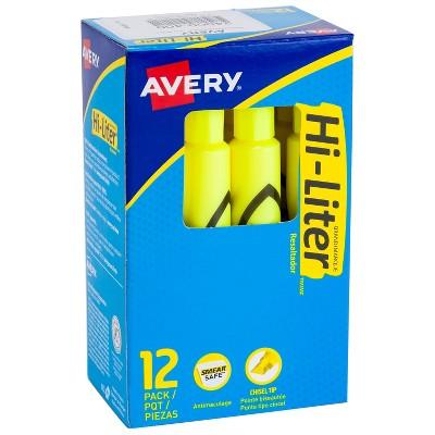 Avery Hi-Liter Desk Style Highlighters Chisel Tip Yellow Dozen (24000) 54383
