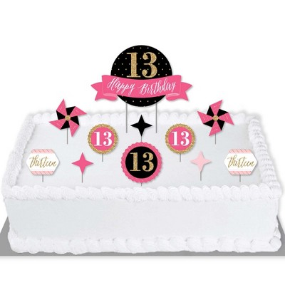 Big Dot of Happiness Chic 13th Birthday - Pink, Black and Gold - Birthday Party Cake Decorating Kit - Happy Birthday Cake Topper Set - 11 Pieces