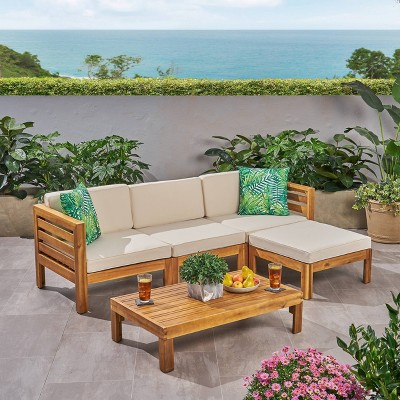 Cambridge 5pc Acacia Wood Patio Sofa Set - Teak/Beige - Christopher Knight Home