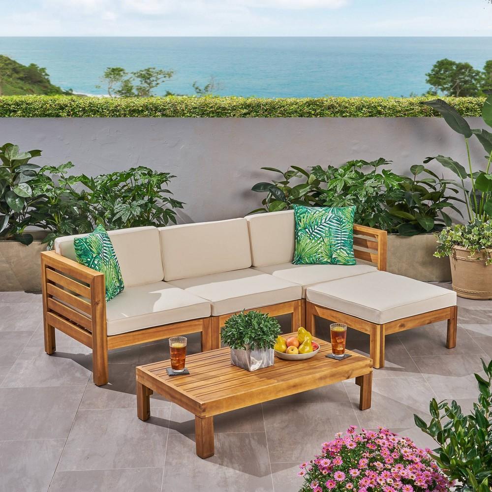 Cambridge 5pc Acacia Wood Patio Sofa Set Teak Beige Christopher Knight Home