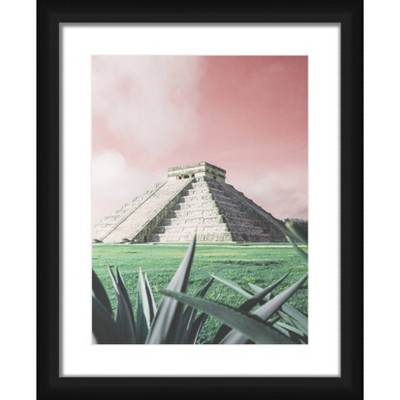 """18"""" x 22"""" Matted to 2"""" Pyramide With Sky Picture Framed Black - PTM Images"""