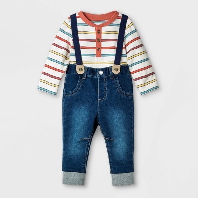 Baby Boys' 2pc Henley Suspender Top & Bottom Set - Cat & Jack™ White 0-3M