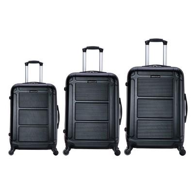 InUSA Pilot 3pc Hardside Spinner Luggage Set 20 & 24 & 28  - Black
