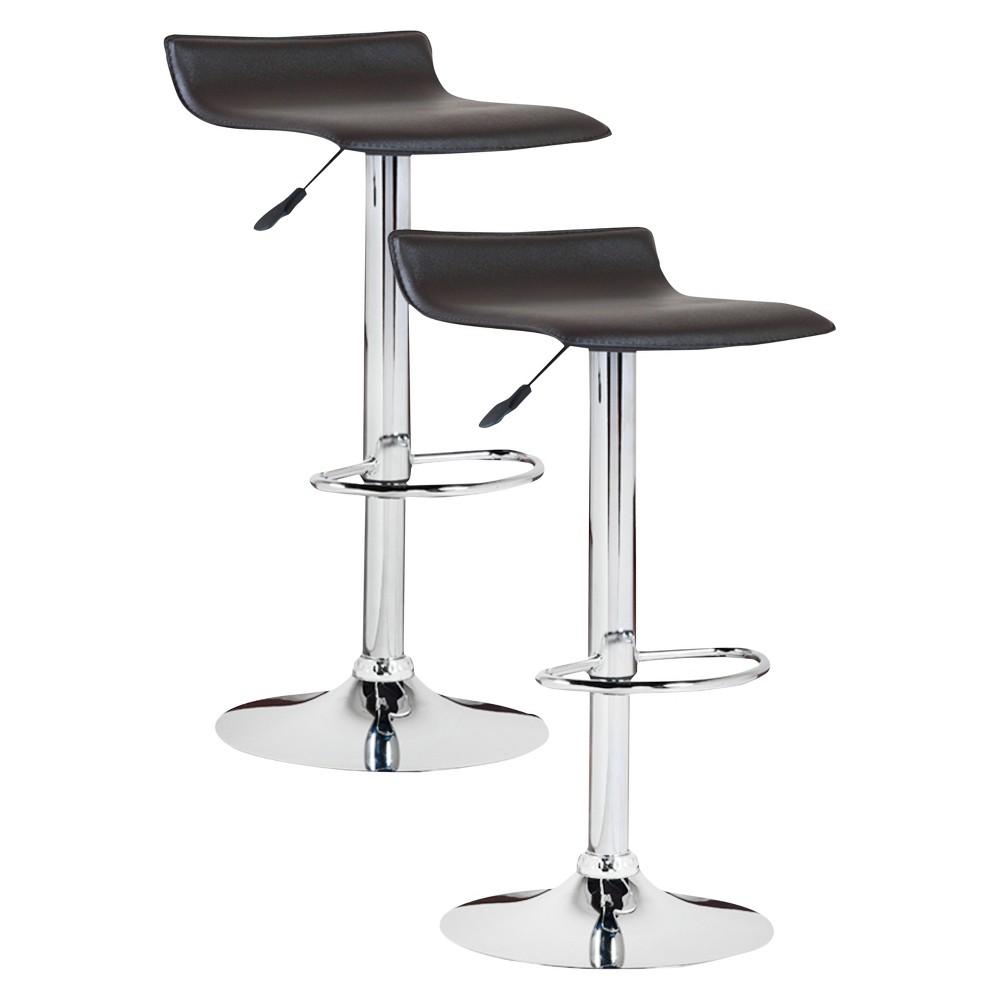 Wondrous Set Of 2 Adjustable Height Swivel Bar Stool Black Leick Home Machost Co Dining Chair Design Ideas Machostcouk