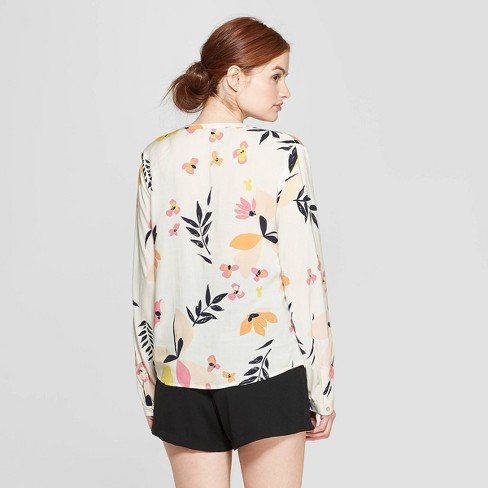 6aa1ff98557c45 Women's Floral Print Long Sleeve Popover Blouse - A New Day™ Cream ...