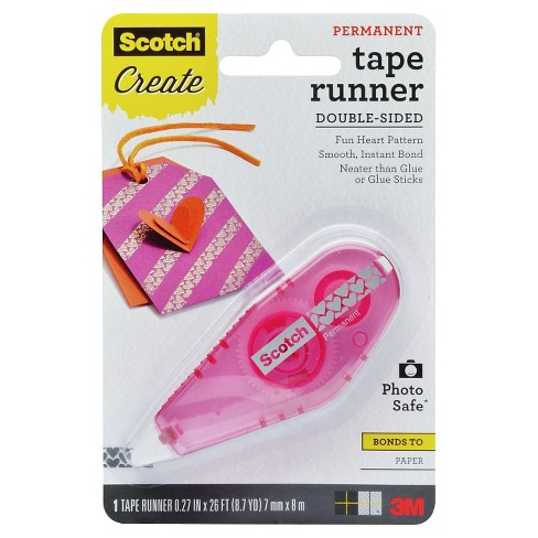 Scotch™ Patterned Tape Runner, Hearts Pattern, Pink Dispenser, Permanent, 0.27 in X 26 ft - image 1 of 1
