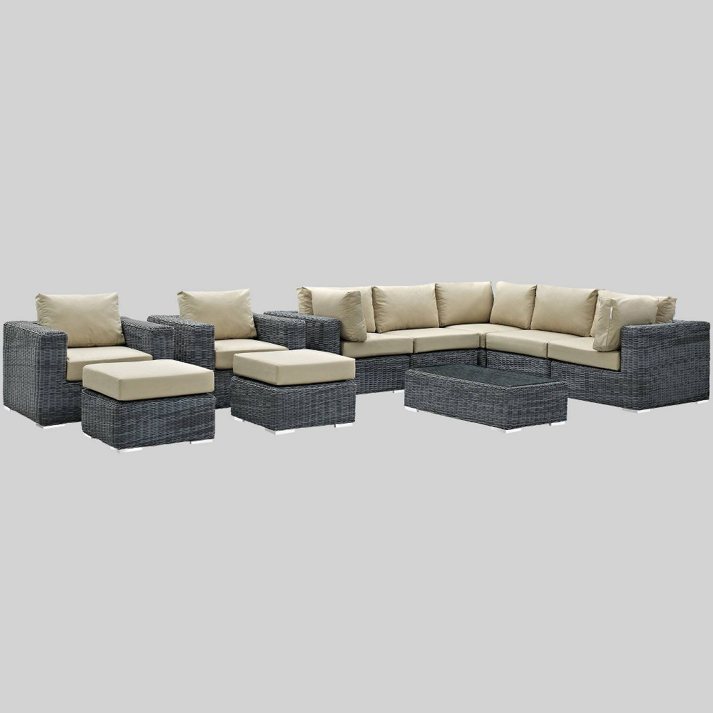 Summon 10pc Outdoor Patio Sectional Set with Sunbrella Fabric - Beige - Modway