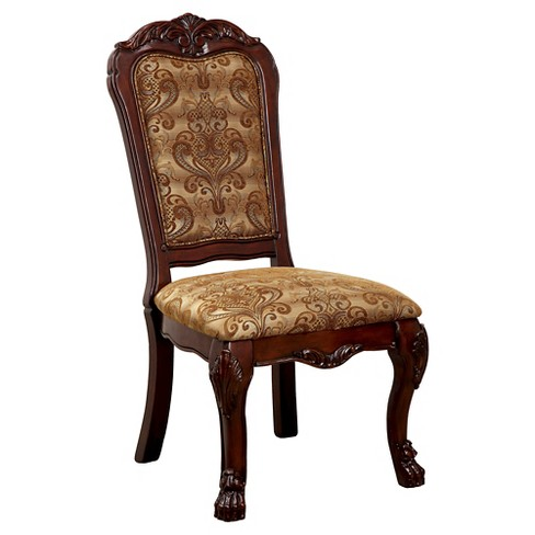 ioHomes Lion Claw Elegant Carved Side Chair Wood/Antique Oak (Set of 2) - IoHomes Lion Claw Elegant Carved Side Chair Wood/Antique Oak (Set Of