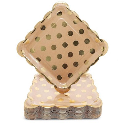 Juvale 48 Pack Kraft Gold Foil Dots 9 Inch Paper Party Plates For Lunch Dessert Or Appetizer Target