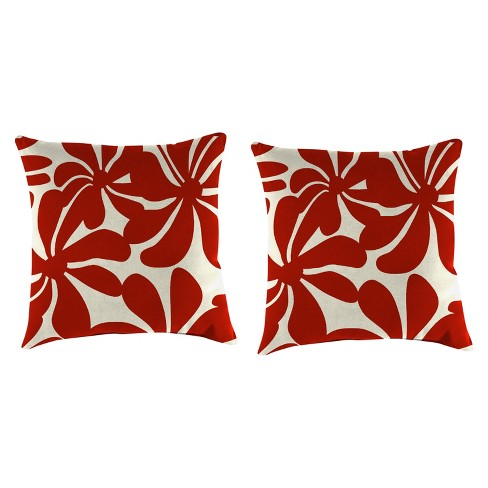 Outdoor Set Of 2 Accessory Toss Pillows In Twirly American Red - Jordan Manufacturing - image 1 of 1