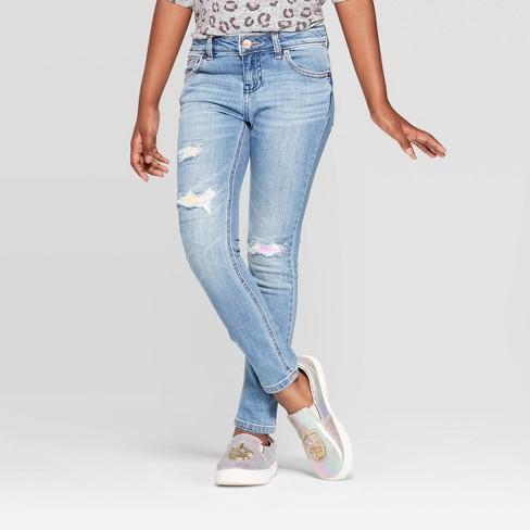 Girls' Flip Sequin Jeans - Cat & Jack™ Light Wash - image 1 of 4