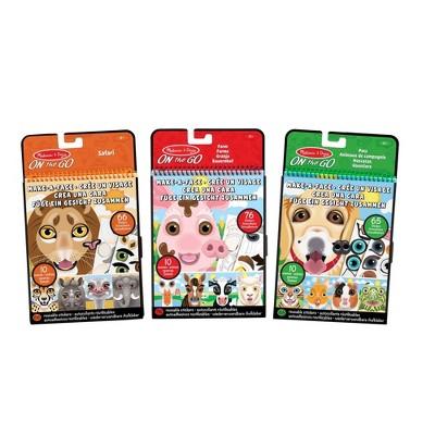 Melissa & Doug Make-A-Face Reusable Sticker Pad Bundle 3 Pack: Safari Farm and Pet Sticker Activity Pads
