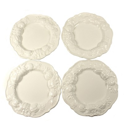 """Tabletop 8.0"""" White Plate With Pumpkins Thanksgiving Dinner Party K & K Interiors  -  Dining Plates"""