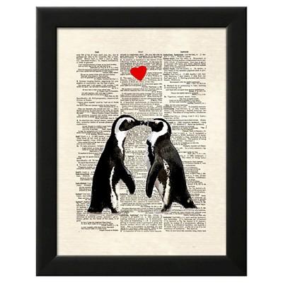 Penguin Lovers Black Wood Framed Art Print