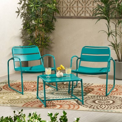 Cowan 3pc Iron Modern Chat Set - Matte Teal - Christopher Knight Home