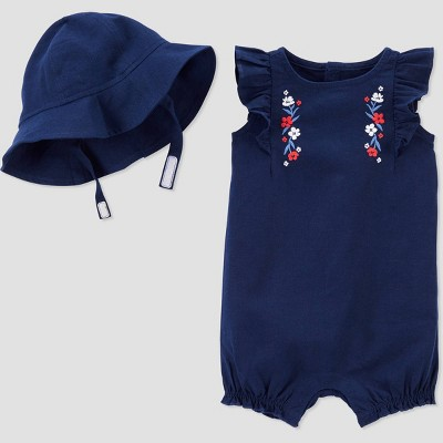 Baby Girls' Floral Romper with Hat - Just One You® made by carter's Navy
