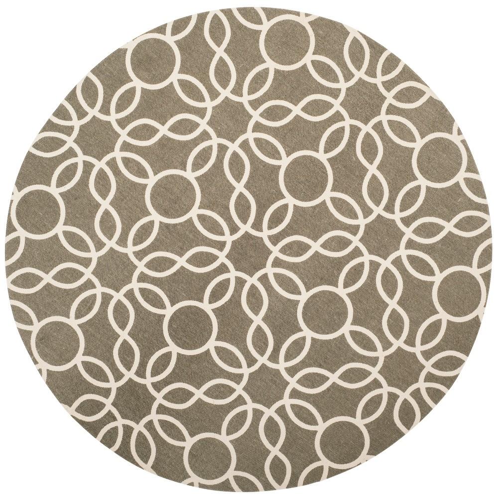 6' Geometric Round Area Rug Gray/Ivory - Safavieh