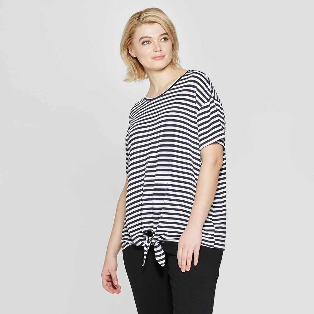 Women's Plus Size Striped Short Sleeve Tie Front T-Shirt - Ava & Viv Navy (Blue) 4X