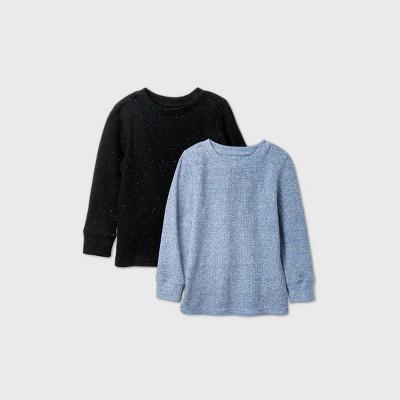 Toddler Boys' 2pk Thermal T-Shirt - Cat & Jack™ Black