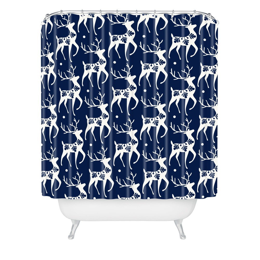 Image of Dashing Through the Snow Deer Shower Curtain Blue - Deny Designs