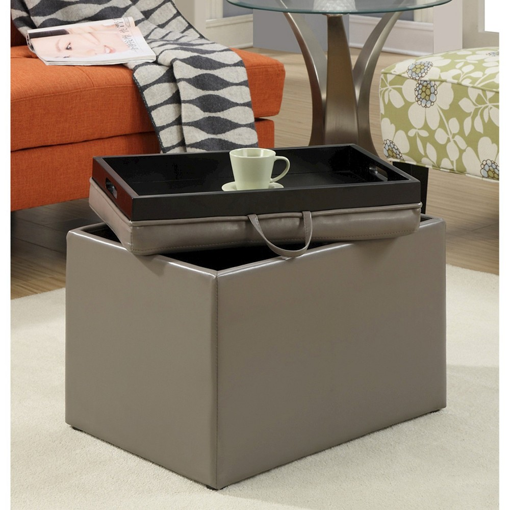 Image of Accent Storage Ottoman - Gray