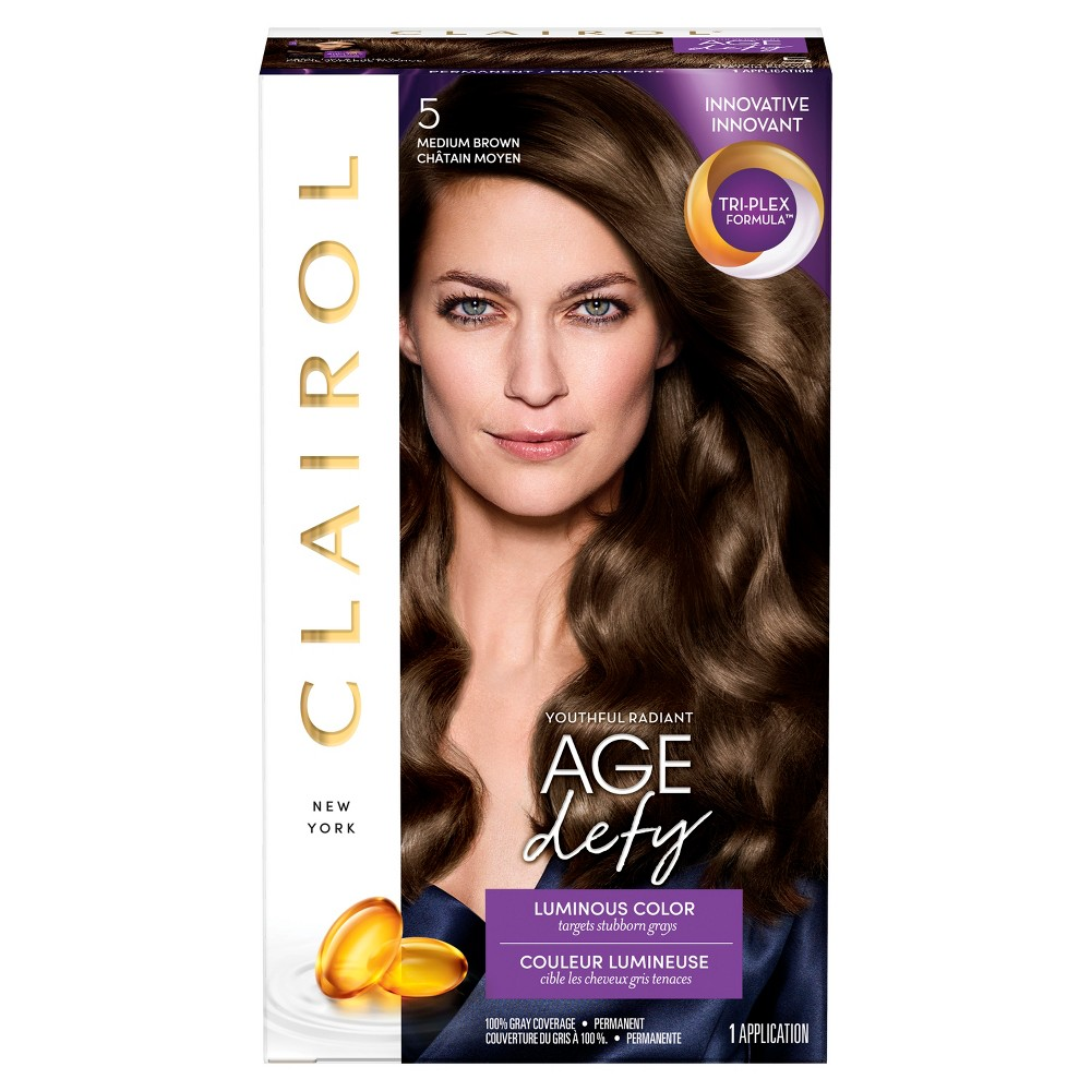 Image of Clairol Age Defy Permanent Hair Color - 5 Medium Brown - 1 kit