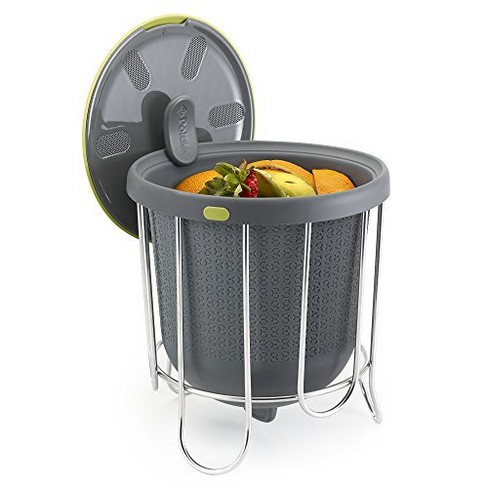 Polder Kitchen Composter-Flexible silicone bucket inverts for emptying and cleaning - no need to touch contents- adjustable lid for ventilation & airflow control, Gray / Green - image 1 of 4