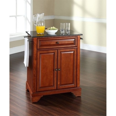 Wood Black Granite Top Kitchen Island in Cherry Brown - Bowery Hill