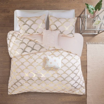 Janelle Metallic Printed Duvet Cover Set