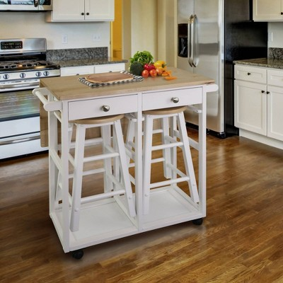 Square American Maple Drop Leaf Table Top Breakfast Cart Natural/White - Flora Home