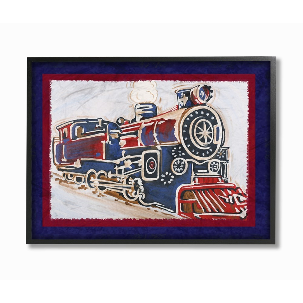 Blue And Red Vintage Train Oversized Framed Giclee Texturized Art 16 X20 X1 5 Stupell Industries