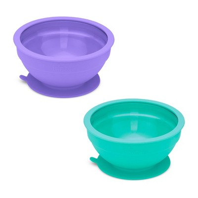 14.8oz 2pk Silicone and Glass Suction Bowl Set Purple/Teal - Brinware