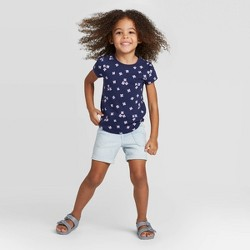 Toddler Girls' Short Sleeve Floral T-Shirt - Cat & Jack™ Navy