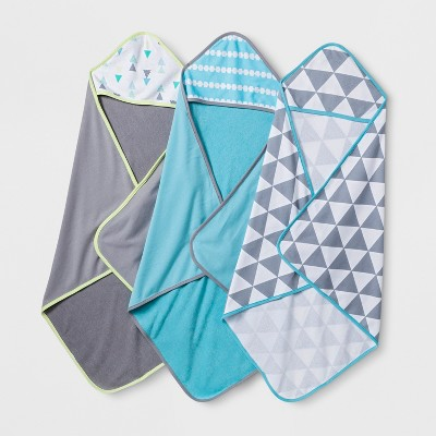 Baby Boys' Geo Bright 3pk Hooded Towels - Cloud Island™ Turquoise One Size