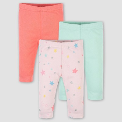 Gerber Baby Girls' 3pk Rainbow Pull-On Pants - Pink 3-6M