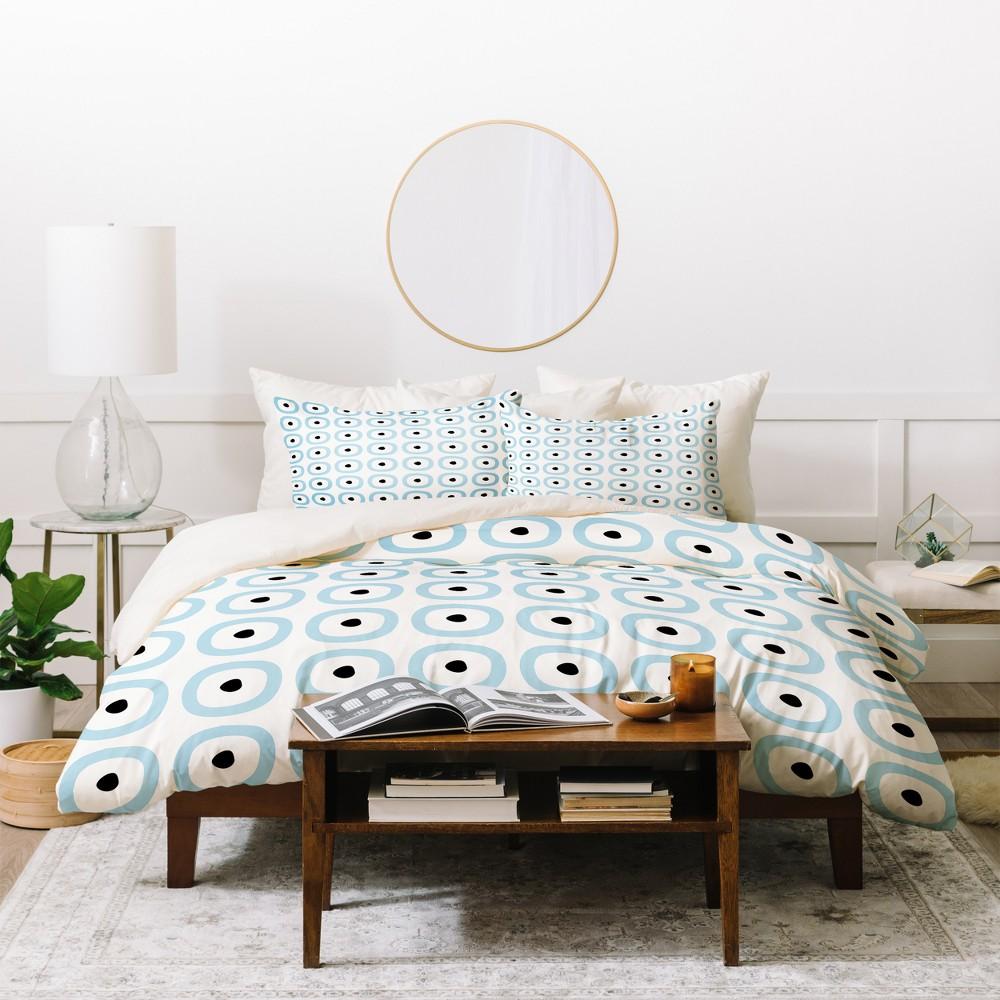 King Geometric Caroline Okun Yarmouth Duvet Cover Set Blue - Deny Designs