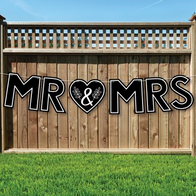 Big Dot of Happiness Mr. and Mrs. - Large Black and White Wedding or Bridal Shower Decorations - Mr & Mrs - Outdoor Letter Banner