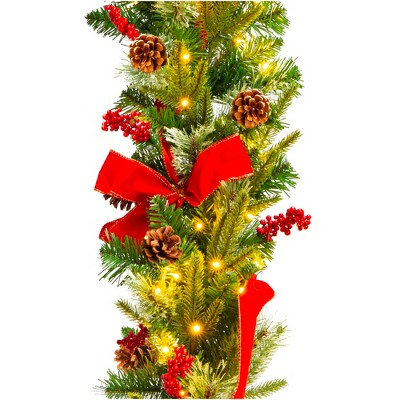 Best Choice Products 9ft Pre-Lit Christmas Garland, Battery Powered Decoration w/ 100 Lights, 180 Tips, Pine Cones
