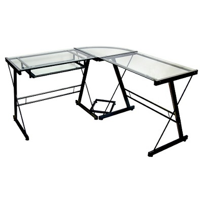 Glass L Shaped Computer Desk with Keyboard Tray Black - Saracina Home