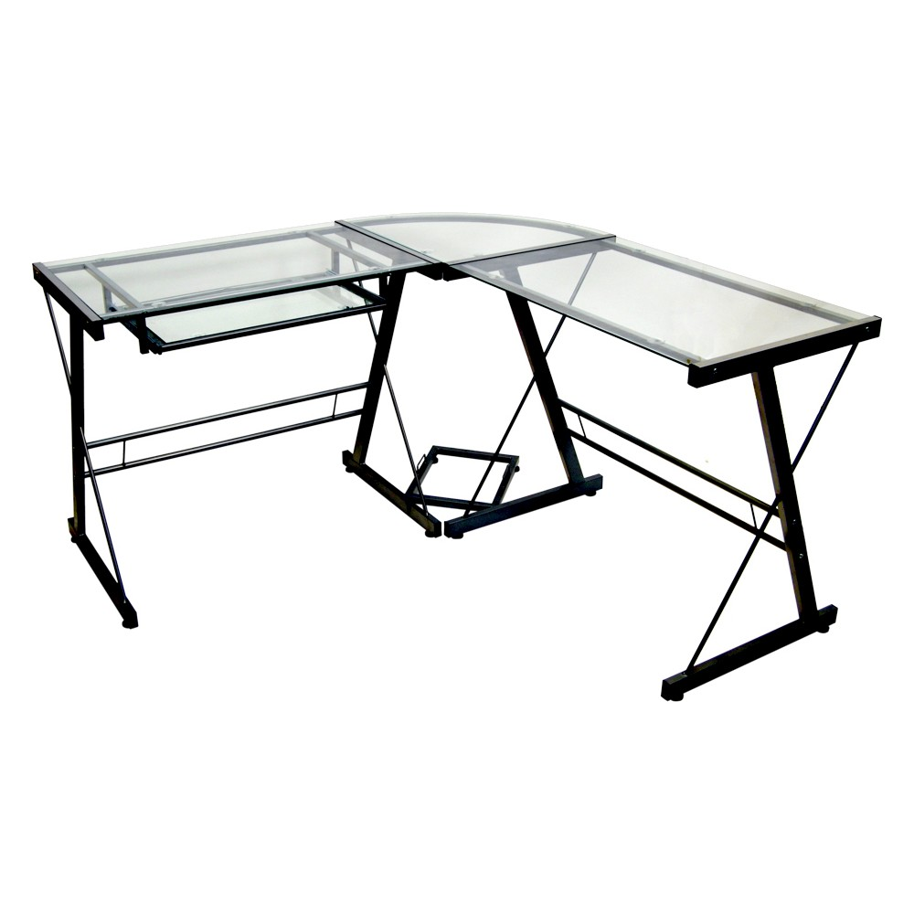 Glass L Shaped Computer Desk with Keyboard Tray Black - Saracina Home Coupons
